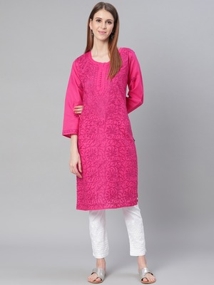 Magenta embroidered cotton embroidered-kurtis