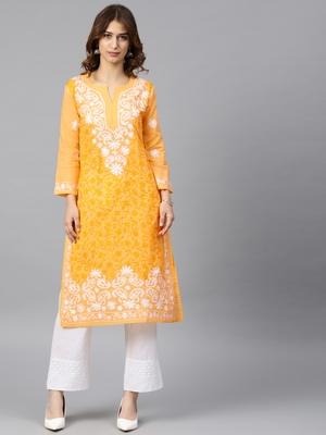 Yellow hand woven cotton embroidered-kurtis