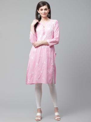 Light-pink hand woven cotton chikankari-kurtis