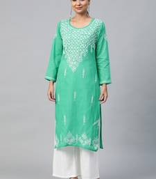 Green embroidered cotton embroidered-kurtis