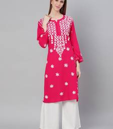 Magenta embroidered cotton embroidered-kurtis