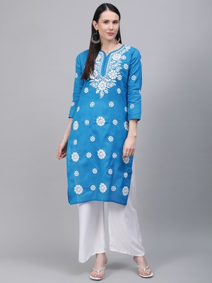 Blue embroidered cotton embroidered-kurtis
