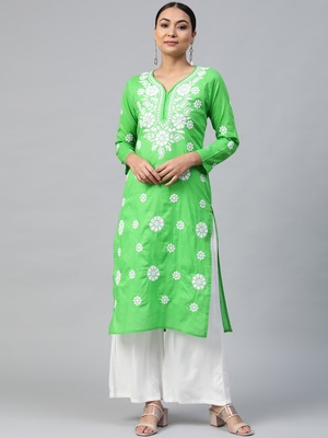 Parrot-green embroidered cotton embroidered-kurtis