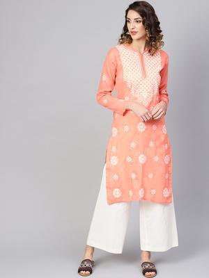 Peach hand woven cotton chikankari-kurtis
