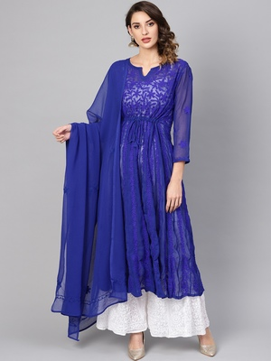 Blue embroidered georgette embroidered-kurtis