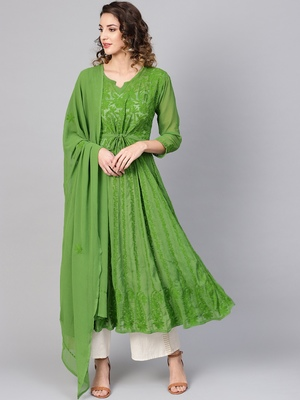 Green embroidered georgette embroidered-kurtis