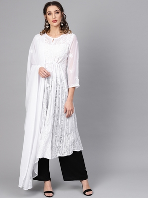 White embroidered georgette embroidered-kurtis