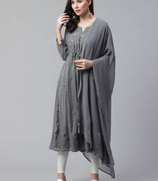 Charcoal embroidered georgette embroidered-kurtis
