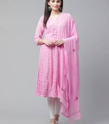 Pink embroidered georgette embroidered-kurtis