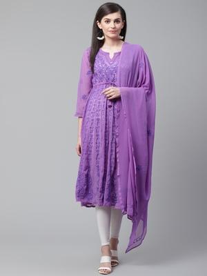 Purple embroidered georgette embroidered-kurtis