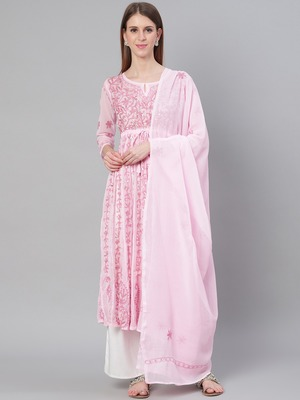 Pink embroidered polyester embroidered-kurtis