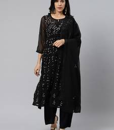 Black embroidered polyester embroidered-kurtis