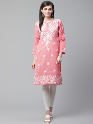 Coral embroidered cotton embroidered-kurtis