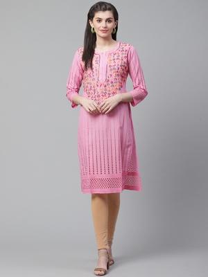 Pink hand woven cotton chikankari-kurtis