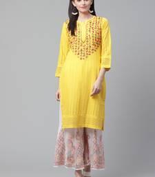 Yellow hand woven cotton chikankari-kurtis