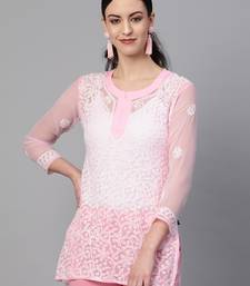 Light-pink hand woven georgette chikankari-kurtis