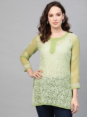 Green hand woven georgette chikankari-kurtis