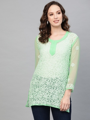 Sea-green hand woven georgette chikankari-kurtis
