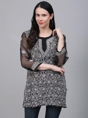 Black hand woven georgette chikankari-kurtis