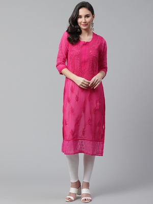 Pink hand woven georgette chikankari-kurtis