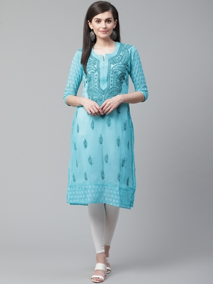 Blue hand woven georgette chikankari-kurtis