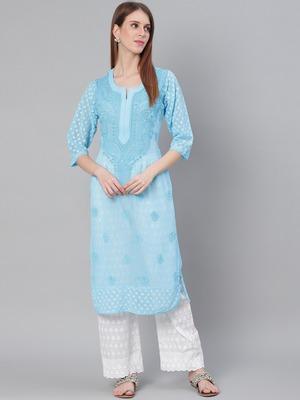 Sky-blue hand woven georgette chikankari-kurtis