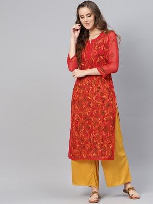 Red hand woven georgette chikankari-kurtis