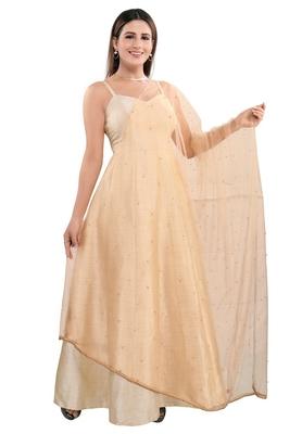 Salwar Studio Women's Gold Art Silk Self Design Dupatta