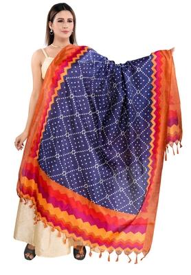 Salwar Studio Women's Navy Blue Art Silk Printed Dupatta