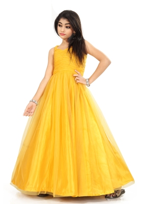 Kids Yellow Net With Satin Gown For Girls