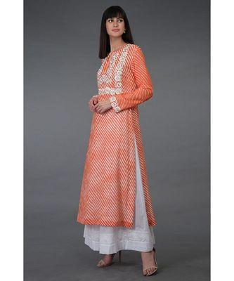 Orange Leheriya Floral Embroidered Georgette Kurta