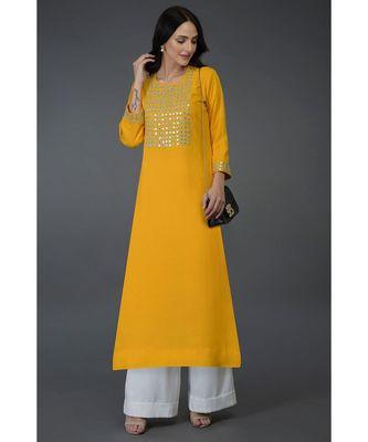 Sunglow Yellow Mirror, Beads & Zari Work Long Tunic Kurta