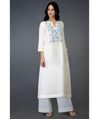 Ivory Resham Beads and Crystal Embroidered Long Tunic Kurta