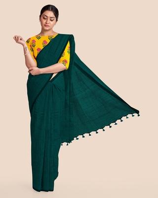 Mercerized Handloom Cotton Saree (Dark Teal green)
