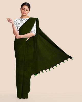 Mercerized Handloom Cotton Saree (Dark moss green)