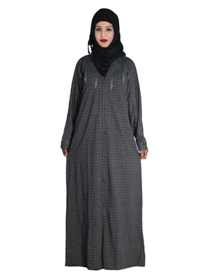 Grey embroidered denim abaya