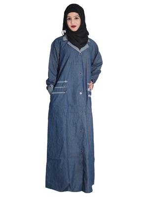 Blue embroidered denim abaya