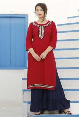 Red embroidered rayon kurta-sets