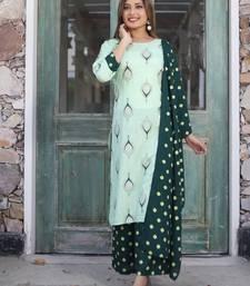Dark-green printed rayon kurta-sets