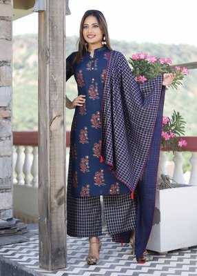 Blue embroidered rayon kurta-sets