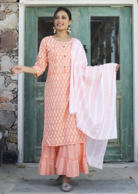 Peach printed rayon kurta-sets