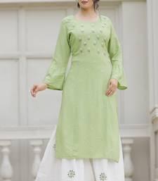 Light-green hand woven rayon kurta-sets