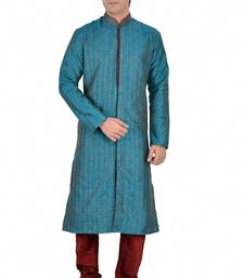 BLUE SELF DESIGN JACQUARD KURTA PAYJAMA shop online