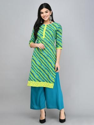 Myshka Women's Green Cotton 3/4 Sleeve Round Neck Printed Casual Kurta