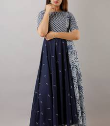 Svarchi Womens Cotton Abstract Print Anarkali Gown (Blue)