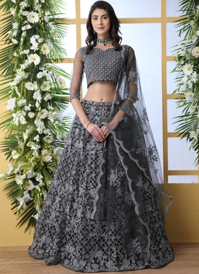Dark Grey Net Embroidered Bridal Lehengas