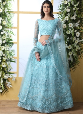 Sky Blue Net Embroidered Bridal Lehengas