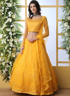 Yellow Net Embroidered Bridal Lehengas