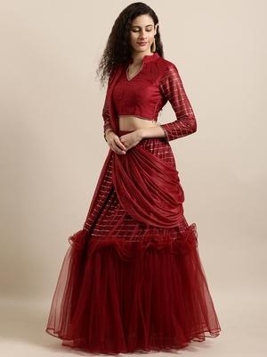 Maroon plain net saree with blouse