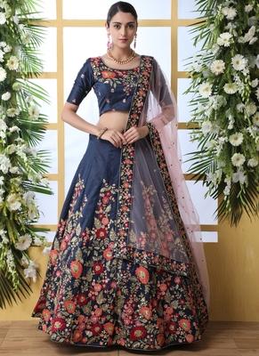 Navy Blue Art Silk Embroidered Bridal Lehengas
